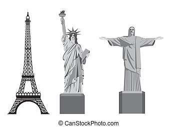 world monumets - eiffel tower with statue of liberty and...