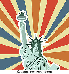 statue of liberty over vintage background. vector...