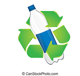 recycle sign with plastic bottle isolated over white...