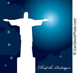 christ redeemer - silhouette christ redeemer over beautiful...