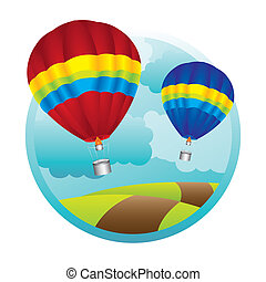 hot air ballons - hot air balloons over mountaings...