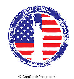 new york seal with statue of liberty isolated. vector...