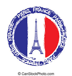 france seal with eiffel tower isolated over white background...
