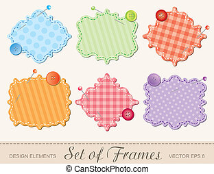 set of frames - set of textile frames, scrapbook design...