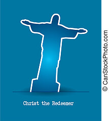 christ redeemer stickers over blue background vector...