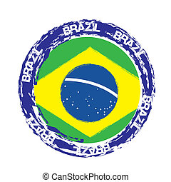 brazil seal with flag isolated over white background. vector...