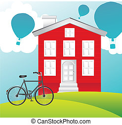 house vector - house over landscape with bike and hot...