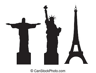 world monuments - black silhouettes world monuments isolated...