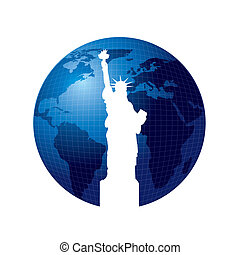 statue of liberty - silhouette statue of liberty over planet...