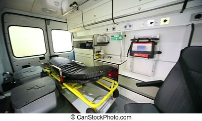 Ambulances compartment with modern equipment, around view...