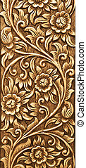 flower carved on wood - Pattern of flower carved on wood...