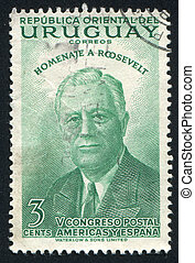 Franklin Roosevelt - URUGUAY - CIRCA 1953: stamp printed by...