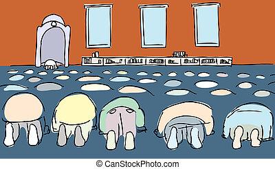 Muslim Men Praying - Men prostrating during the Islamic...