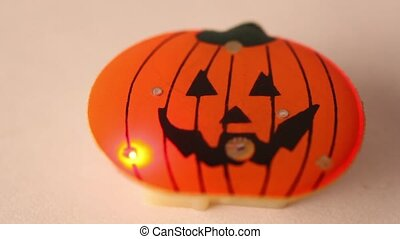 Little toy halloween pumpkin with flashes led light