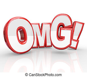 OMG Red 3D Letters Oh My God Shocked Amazement - Red 3D...