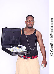 Gangster with money and gun - Gangster with a briefcase of...