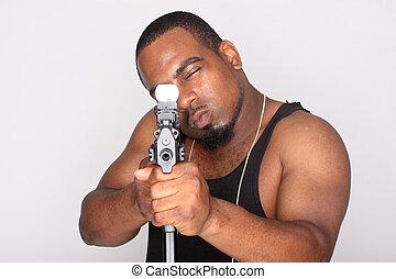 Gangster with gun - Gangster with an assault gun