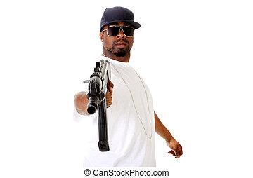 Gangster with assault gun - Gangster with an AK47 assault...