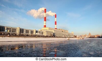 Thermal power station on Moscow River, pipes and smoke,...