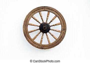 vindima, girar, roda, branca, parede