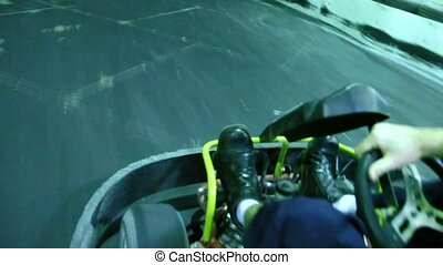 Racer finished carting ride and stoped, view from above