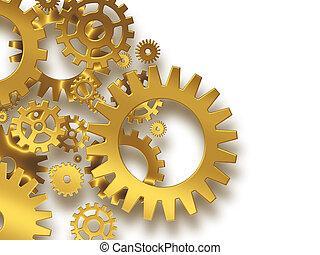 gold gears on a white background - industrial background
