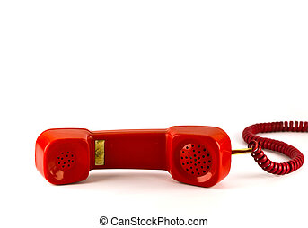 Old red phone isolated on white background