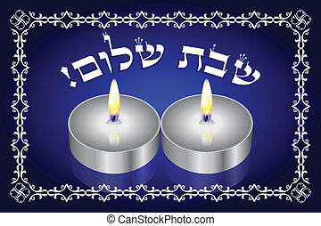 candles - Shabbat Shalom Hebrew - vector background with...