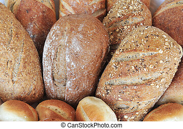 Food and Cuisine - Bread - Bread on display in bakery shop.