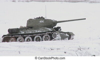 Russian Tank T34 in snowy weather - MOSCOW, RUSSIA -...