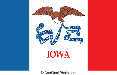 F iowa - Various vector flags, state symbols, emblems of...