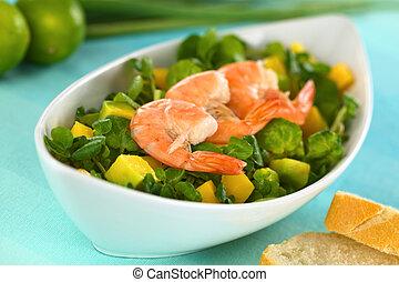 Shrimps on Watercress Salad - Shrimps on fresh watercress,...