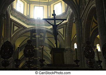 Crucifix and beaming light in cathedral - Light beams...