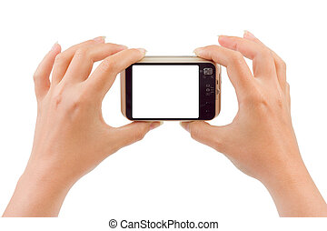 Photo camera in hands