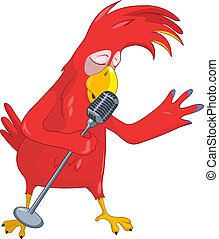 Funny Parrot Singing. - Cartoon Character Funny Parrot...