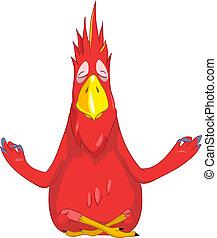 Funny Parrot. Yoga. - Cartoon Character Funny Parrot...