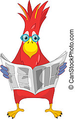 Funny Parrot News - Cartoon Character Funny Parrot Isolated...