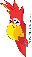 Funny Parrot - Cartoon Character Funny Parrot Isolated on...