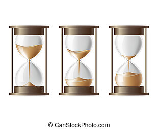 Sand falling in the hourglass. - Sand falling in the...
