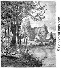 Croqueboeuf church or Chapel of Ivy in Croqueboeuf, Calvados, France, vintage engraved illustration. Magasin Pittoresque  1874.