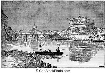 Old engraved illustration of a beautiful view of the ancient...