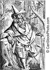 The wooden man or the Man of the Wood, vintage engraving.