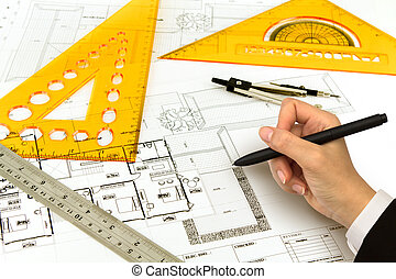 Hand draw Blueprint of a house