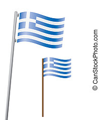 flag of Greece on flagstaff vector illustration