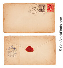 Vintage Envelope - The front and back of an aging, 1902...