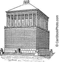 Tomb of Mausolus or Mausoleum at Halicarnassus, in Bodrum, Turkey, vintage engraving