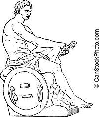 Statue of Mars, vintage engraving