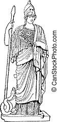 Minerva, vintage engraving