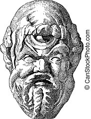 Ancient Theatrical Mask, vintage engraving - Ancient...