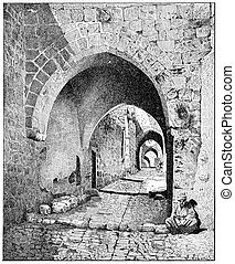 Street View of the city, Jerusalem, vintage engraving -...